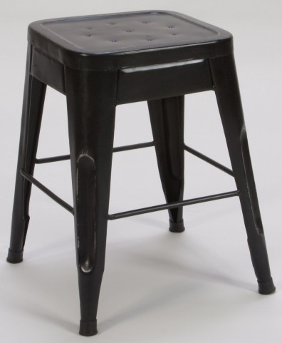 "Amara 18"" Black Metal Stool Set of 4"