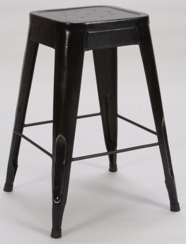 "Amara 24"" Black Metal Stool Set of 4"