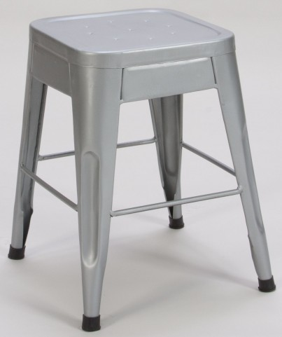 "Amara 18"" Silver Metal Stool Set of 4"