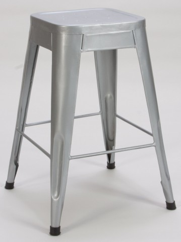 "Amara 24"" Silver Metal Stool Set of 4"