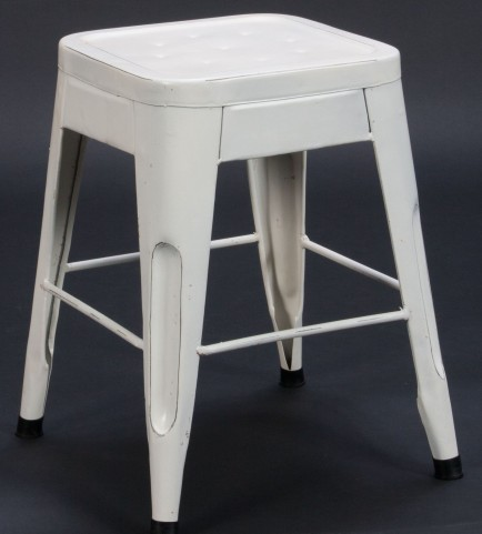 "Amara 18"" White Metal Stool Set of 4"