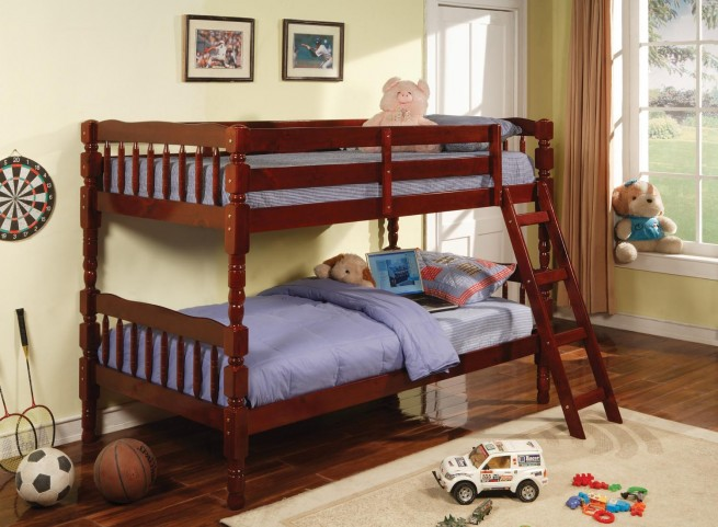 Corinth Cherry Twin Over Twin Bunk Bed