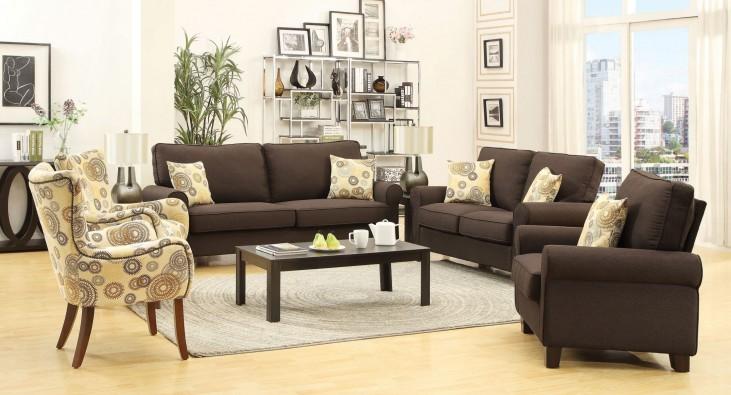 Noella Chocolate Living Room Set