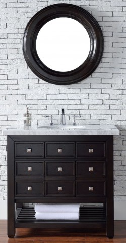 "Vancouver 36"" Cerused Espresso Oak Single 4CM Top Vanity Set"