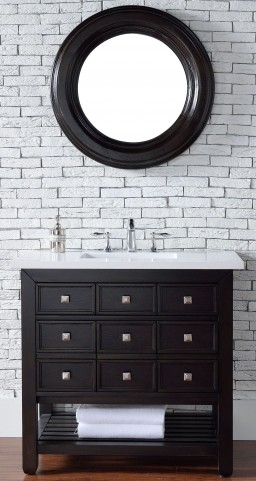 "Vancouver 36"" Cerused Espresso Oak Single Vanity With 3Cm Snow White Quartz Top"