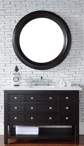 "Vancouver 48"" Cerused Espresso Oak Single Vanity With 3Cm Snow White Quartz Top"