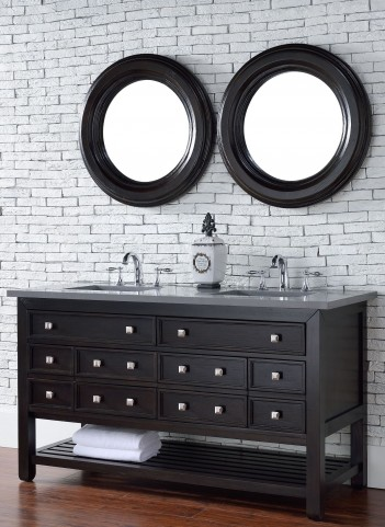 "Vancouver 60"" Cerused Espresso Oak Double Vanity With 3Cm Shadow Gray Quartz Top"