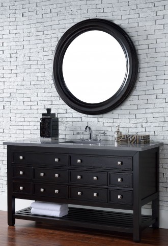 "Vancouver 60"" Cerused Espresso Oak Single Vanity With 3Cm Shadow Gray Quartz Top"