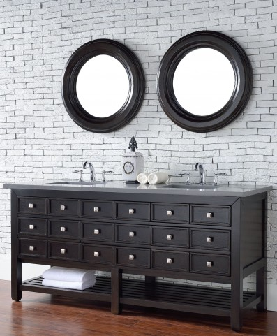 "Vancouver 72"" Cerused Espresso Oak Double Vanity With 3Cm Shadow Gray Quartz Top"