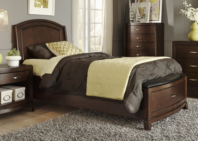 Avalon Truffle  Twin Leather Storage Bed