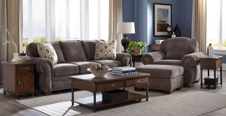 Cambridge Walnut Chenille Fabric Living Room Set