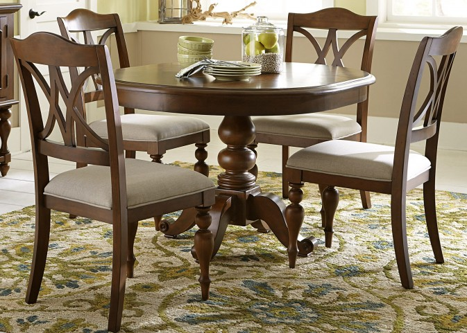Summer House III Cherry Round Pedestal Dining Room Set