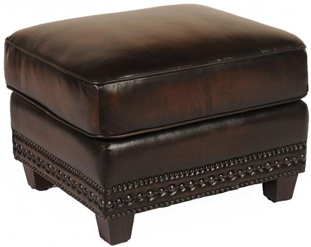 Prato Black & Tan Leather Ottoman