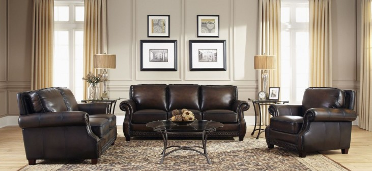 Prato Black & Tan Leather Living Room Set