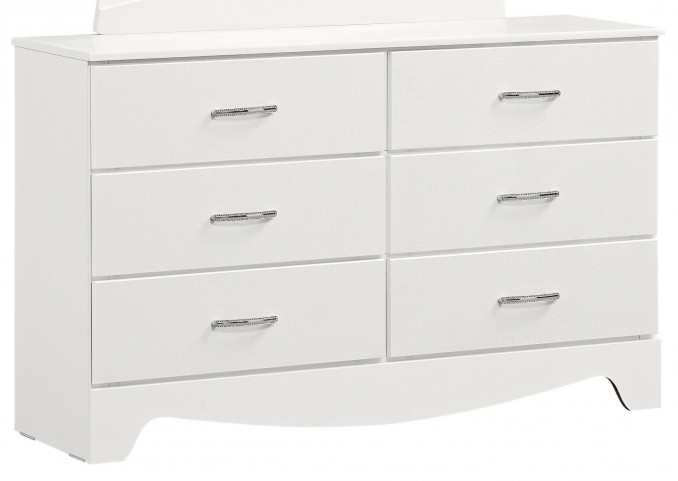 Vogue Glossy White 6 Drawer Dresser