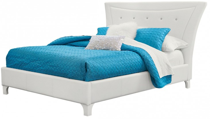 Vogue Glossy White Queen Upholstered Bed