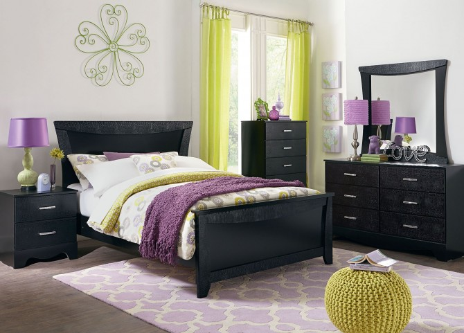 Vogue Glossy Black Youth Panel Bedroom Set