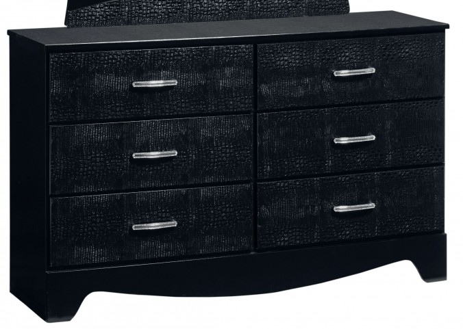 Vogue Glossy Black 6 Drawer Dresser