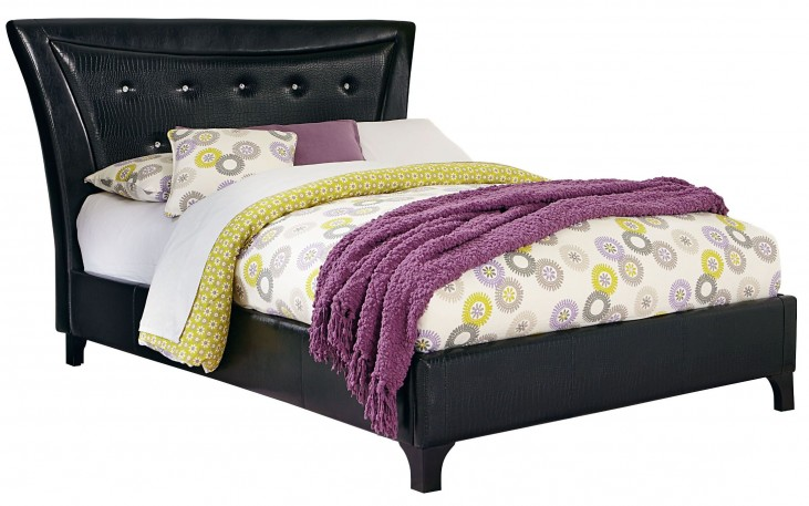 Vogue Glossy Black Full Upholstered Bed