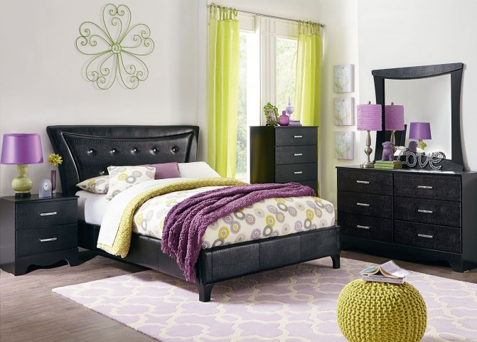Vogue Glossy Black Youth Upholstered Bedroom Set