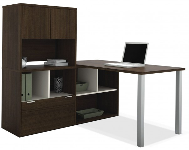 Contempo Tuxedo L-Shaped Desk with Hutch