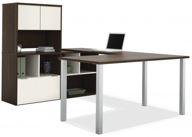 Contempo Tuxedo & Sandstone U-Shaped Desk with Hutch