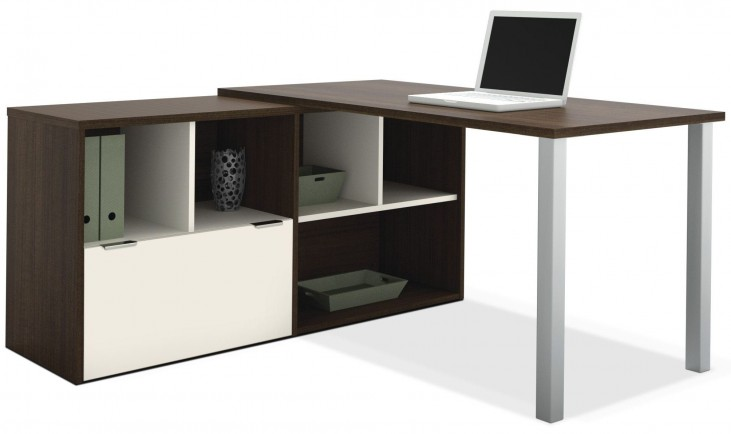 Contempo Tuxedo & Sandstone Melamine L-Shaped Desk