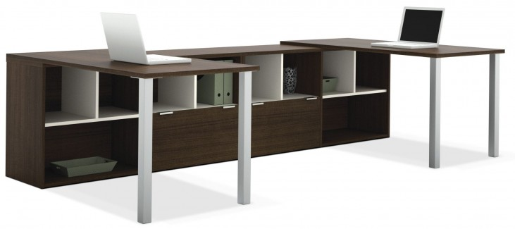 Contempo Tuxedo Two L-Shaped Desks Set