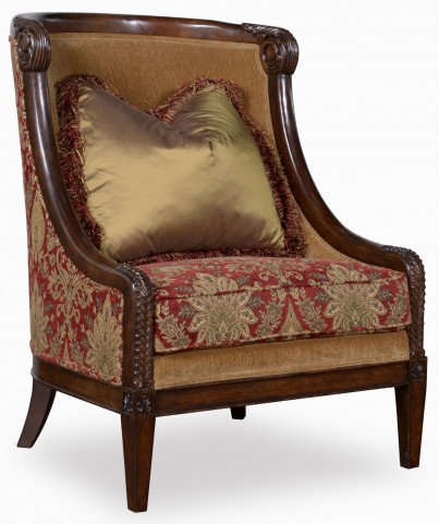 Giovanna Caramel Carved Wood Accent Chair
