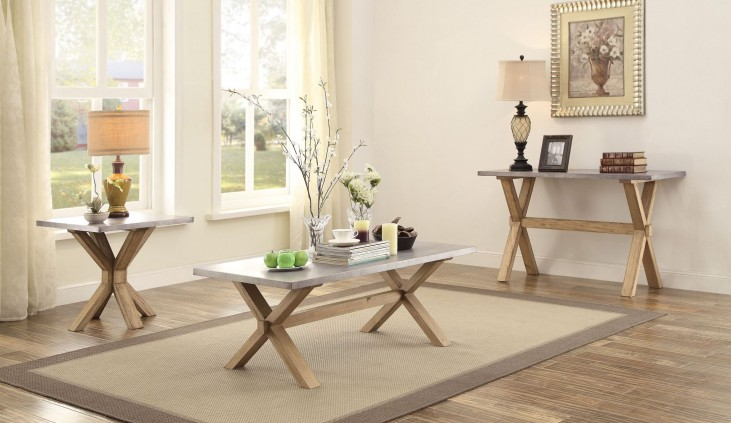 Luella Cool weathered oak Zinc Top Occasional Table Set