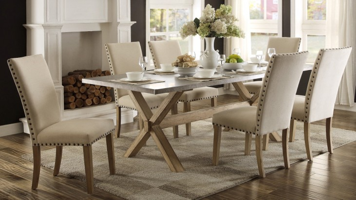 Luella Cool weathered oak Zinc Top Dining Room Set