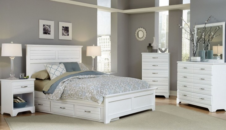 Platinum White Panel Storage Bedroom Set