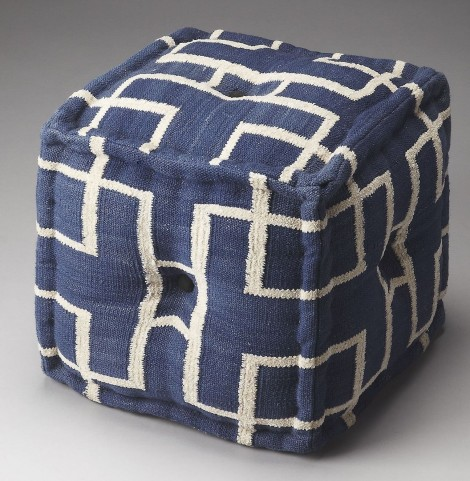Berkeley Navy Interlocking Squares Pouffe