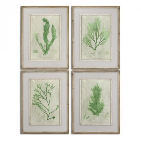 Emerald Seaweed Framed Art Set of 4