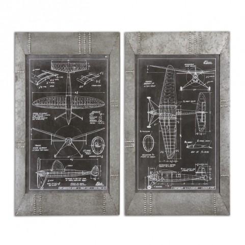 Aeronautic Blueprints Set of 2