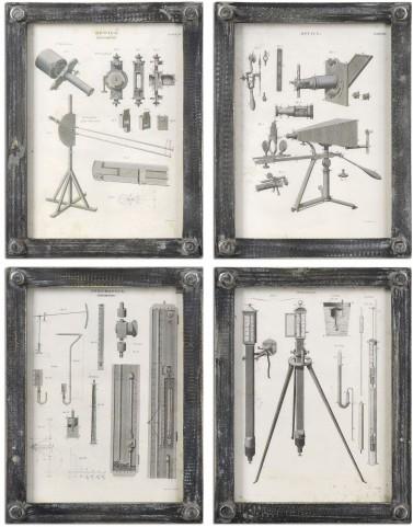 Optics Vintage Art Set of 4
