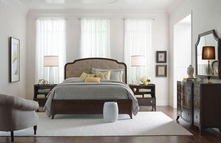 Grantham Hall Deep Coffee Panel Upholstered Bedroom Set