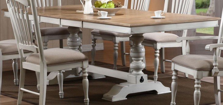 Hollyhock Distressed White Dining Table