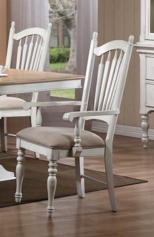 Hollyhock Distressed white Arm Chair Set of 2