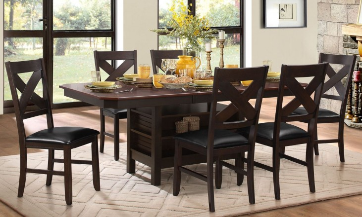 Corliss Dark Brown Uv Coating Top Dining Room Set
