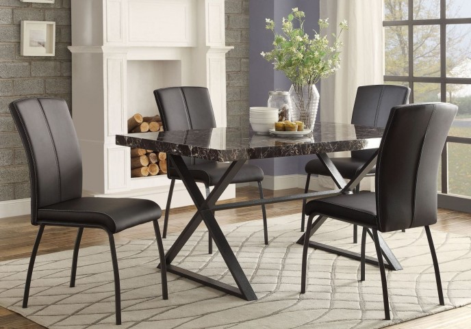 Rancho Portola Black Faux Marble Dining Room Set