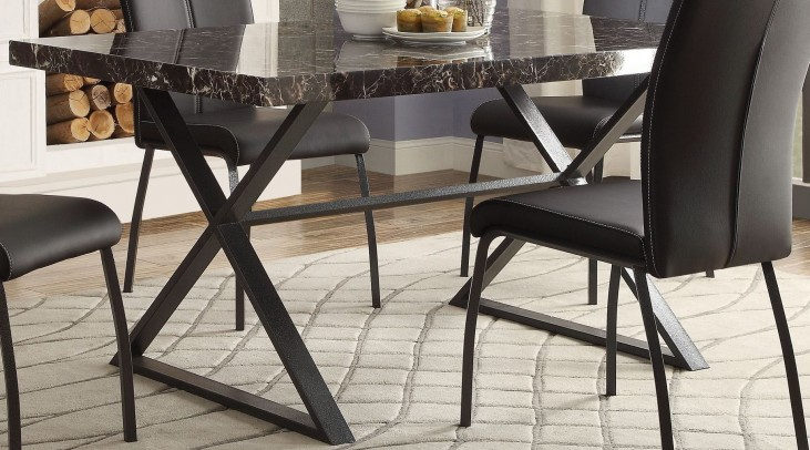 Rancho Portola Black Faux Marble Dining Table