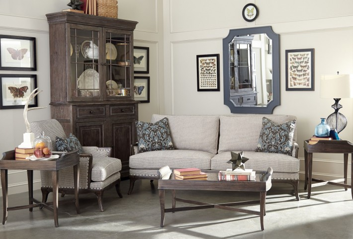 St Germain Siene Pewter Upholstered Living Room Set
