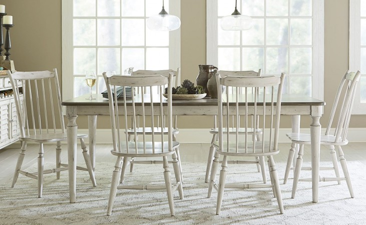 Oak Hill Tan Smoke & Antique White Extendable Dining Room Set