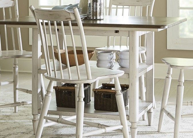 Oak Hill Tan Smoke & Antique White Center Island Table