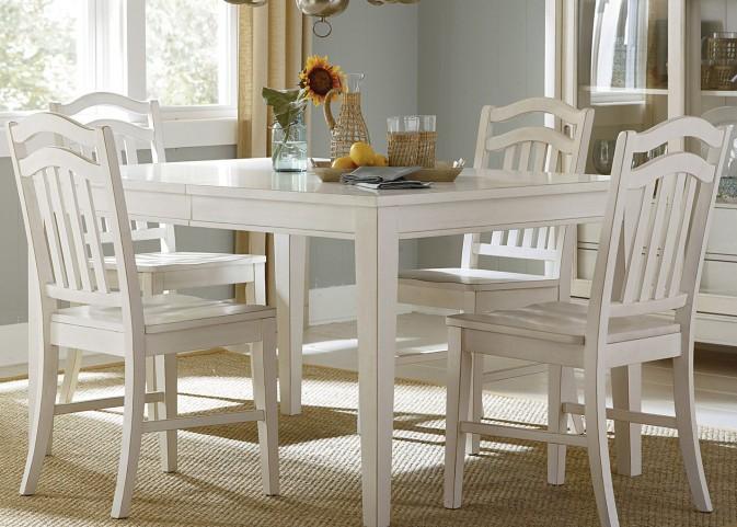 Summerhill Rubbed Linen White Extendable Rectangular Leg Dining Table