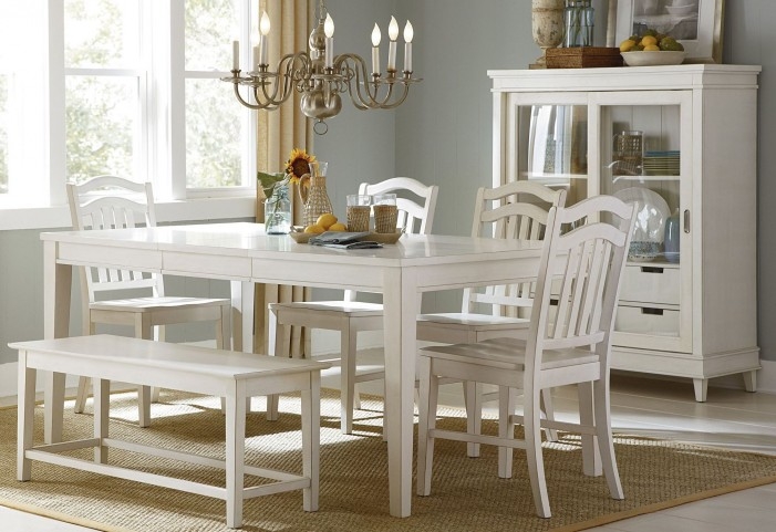 Summerhill Rubbed Linen White Extendable Rectangular Leg Dining Room Set