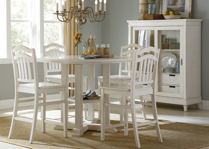 Summerhill Rubbed Linen White Counter Height Gathering Dining Room Set