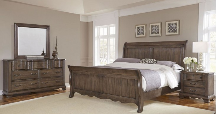 Villa Sophia Dark Roast Sleigh Bedroom Set