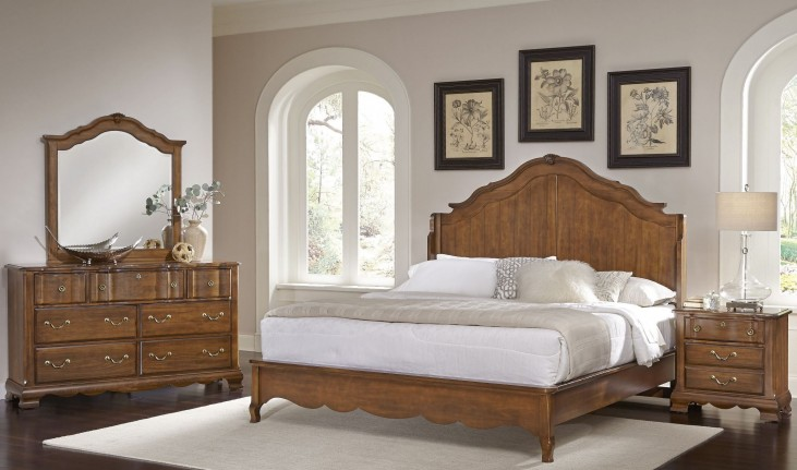 Villa Sophia Antique Cherry Shelter Bedroom Set